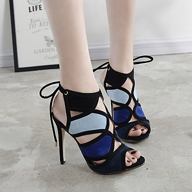 Women's Casual Career 3 Blue cn34 3in Black Office LvYuan Slingback Heels PU Spring 4in uk3 3 Slingback amp; ggx black eu35 us5 Yx6zSqw5
