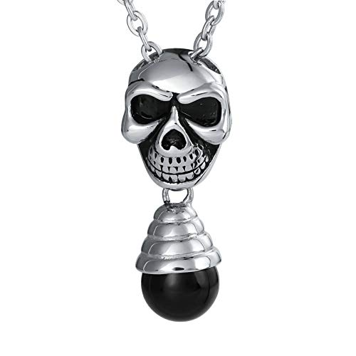 Sprenger Choker Steel (MoAndy Necklace Chain Stainless Steel Jewelry Skull Pendant with Bulb Black)