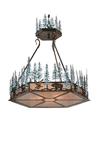 Meyda Tiffany 106007 Wildlife at Pine Collection 3-Light Inverted Pendant, Craftsman Brown Finish with Mica Shades