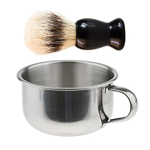 Homyl Stainless Steel Men's Shaving Bowl Beard Soap Cup + Plastic Handle Shave Brush Gift for Friends Father