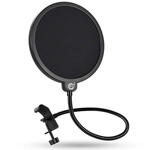 Pop Filter, EJT Upgraded Microphone Mask Shield for Blue Yeti and Other Mic, 6 Inch Dual Layered Pop Wind Screen with Enhanced Flexible 360°Gooseneck Clip Stabilization Arm
