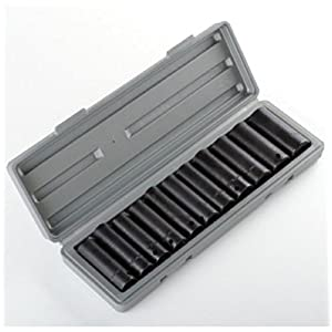 "12 Pieces of 1/2"" Dr Drive Deep Air Impact Socket Sockets Set SAE with Carrying Case"
