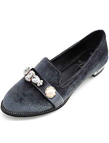 Women's Round Toe Flat Loafers Casual Shoes with Rhinestone Grey - 4