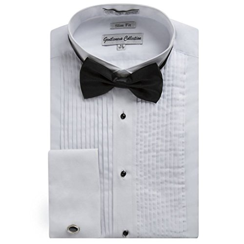 Gentlemens Collection Men's 1923 Slim Fit Wingtip Collar French Cuff Tuxedo Shirt - White - 18.5 2-3