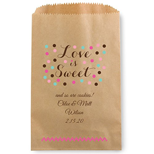 Love is Sweet Personalized Favor Treat Bag for Candy Buffet - 50 Custom Kraft Cookie Bags 5 x 7 1/2
