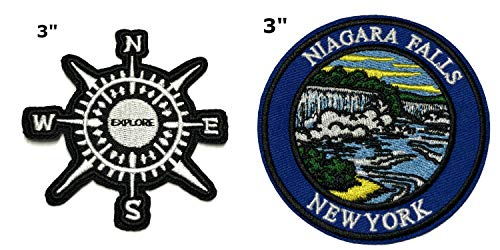 Explore and Niagara Falls National Park Series 2-Pack Embroidered Patch Iron-on Sew-on Explore Nature Outdoor Adventure Explorer Souvenir Travel Vacation Emblem Badge]()