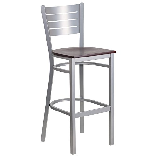 HERCULES Series Silver Slat Back Metal Restaurant Barstool - Mahogany Wood (Slat Seat)