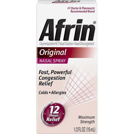 Afrin Nasal Spray 12 Hour Relief, Original, 0.5 fl oz (Pack of 3)