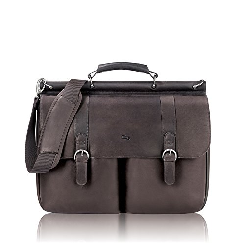 030918003312 - Solo Warren 16 Inch Leather Laptop Briefcase, Espresso carousel main 0