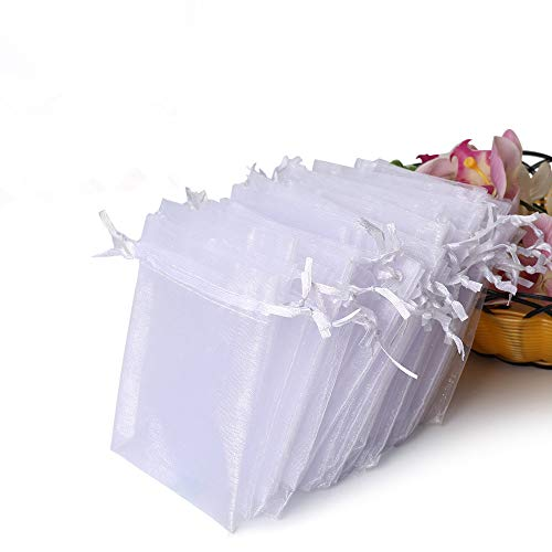 (Hopttreely 100PCS Premium Sheer Organza Bags, White Wedding Favor Bags with Drawstring, 4x4.72 Jewelry Gift Bags for Party, Jewelry, Festival, Bathroom Soaps, Makeup Organza Favor)