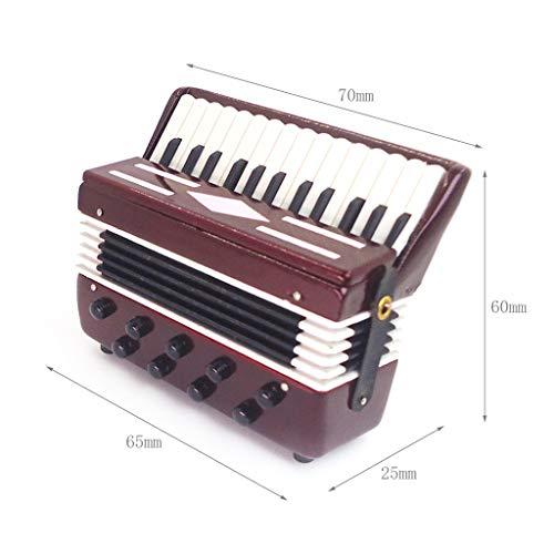 SKYLULU❀ ❀ Miniature Dollhouse Accessories Miniature Accordion 1:12 Mini Dollhouse Mini Instrument Cute Doll House,Wood