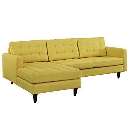 Modern Urban Contemporary Left-Arm Sectional Sofa, Yellow Fabric