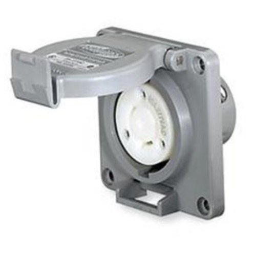 Watertight Locking Receptacle, 30, Gray