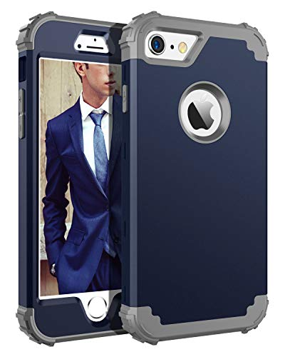 BENTOBEN iPhone 6S Case, iPhone 6 Case,3 in 1 Shockproof Hybrid Hard PC Cover Soft Silicone Bumper Heavy Duty Rugged Anti-Scratch Non-Slip Protective Case for iPhone 6/6S (4.7 inch),Navy Blue & Gray