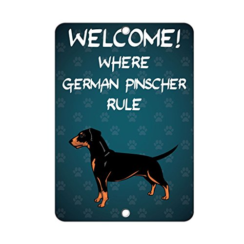 (Welcome Where German Pinscher Dog Rule Sign Vinyl Sticker Decal 8