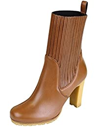 Women's Leather Ankle Mid Heel Boots 323551