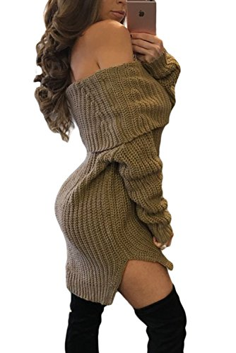 Nuovo da donna Mocha lavorato a maglia grossa spalla jumper Dress casual Club Winter Wear sera taglia S UK 8 – 10 EU 36 – 38