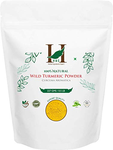 H&C 100% Natural Wild Turmeric (Curcuma Aromatica) Powder - 227g / 0.5 LB / 08 oz | Jangli Haldi | Kasthuri Manjal - For Skin Care | Face Pack