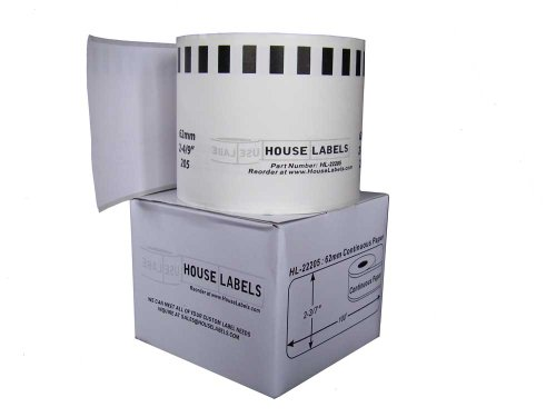 Houselabels Brother-Compatible DK-2205 Continuous Paper Labels, 100-Feet (HL-22205)