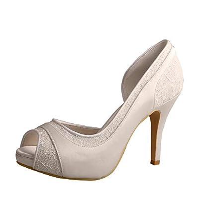 Wedopus MW702 Women High Heel Satin and Lace Pumps Open Toe Bridal Wedding Shoes Platform