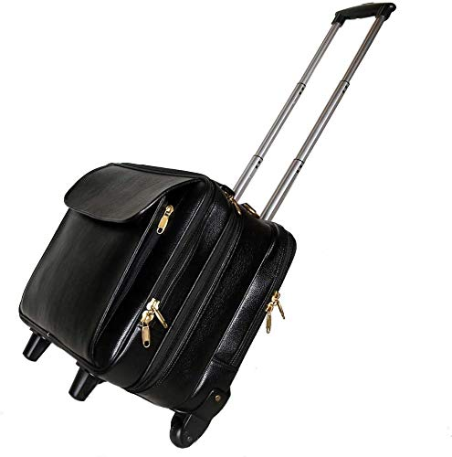RICHSIGN Leather Accessories 42 Ltrs Cabin Size Black Leather Laptop Roller Cases Trolley Bags