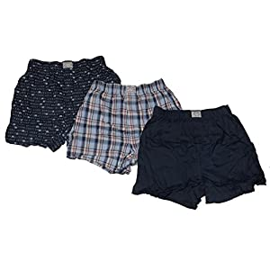 Lucky Brand Men's 3-Pack Woven Cotton Plaid Boxers (Solid Navy/Plaid Blue/Logo Navy, XL)