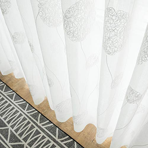 Yastouay Embroidered Sheer Curtains Flora Design Window Voile Panels Semi Sheer Curtains for Bedroom Living Room Set of 2 Curtain Panels 52W x 84L Inch