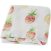 LifeTree Muslin Swaddle Blankets - 47 x47  Soft Muslin Bamboo Cotton Baby Blanket for Boys & Girls Baby Shower Gift (Pineapple Print)