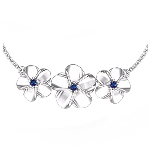 Solid Sterling Silver Rose Flower Necklace Set with Three Lab-grown Blue Sapphire Gems for Women