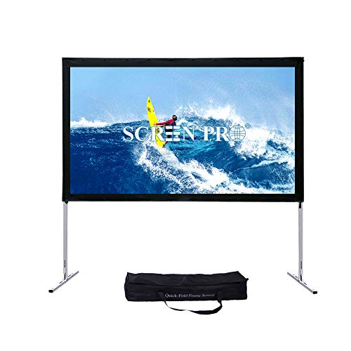 CREENPRO Portable Projector Screen with Stand Outdoor Fast-Folding Movie Screen HD Ultra 4K Ready with Carry Bag for Indoor/Outdoor,Home Theater Camping or Family Trips (16:9, 144″, Matte White)