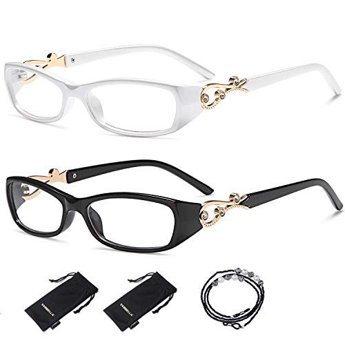 VVDQELLA 3.5 Reading Glasses for Women Diamond Designer 2 Pair Lady Neck Hanging Eyeglasses with Chain Classic Rhinestone Crystal Clear Vision