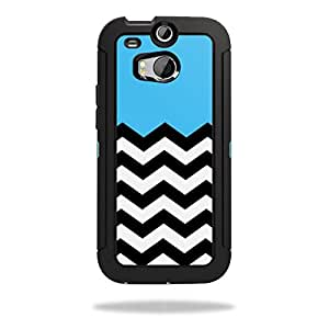 Mightyskins Protective Skin Decal Cover for OtterBox Defender HTC One M8 Case wrap sticker skins Baby Blue Chevron