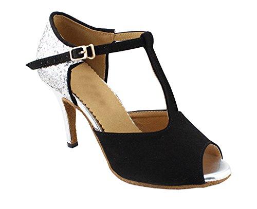 Minitoo QJ6125 Womens Peep Toe High Heel Suede Salsa Tango Ballroom Latin T-strap Dance Sandals Black pnnpZIWr0