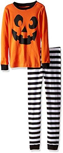 Gymboree Big Boys' Graphic Top, Striped Bottom Tight-Fit Sleep, Jackolantern, 7