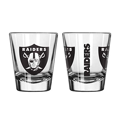 (Official Fan Shop Authentic NFL Logo 2 oz Shot Glasses 2-Pack Bundle. Show Team Pride at Home, Your Bar or at The Tailgate. Gameday Shot Glasses for a Goodnight (Oakland Raiders))