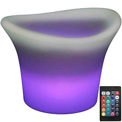 Sunnydaze Indoor/Outdoor LED Lighted Ice Bucket with Remote Control and Rechargeable Battery, RGB Color-Changing, 10-Inch Tall