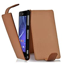 Cadorabo – Flip Style Case for Sony Xperia Z2 – Shell Etui Cover Protection Skin in SADDLE-BROWN