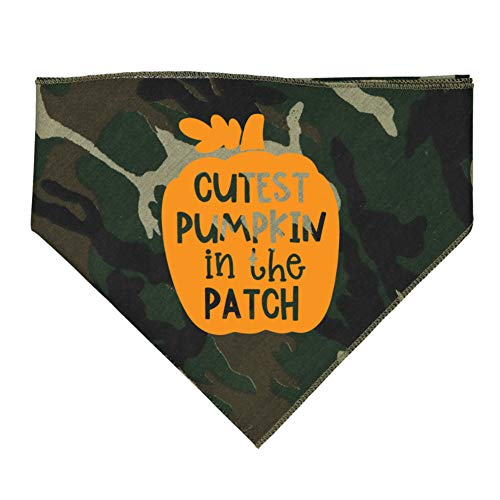 Mashed Clothing - Cutest Pumpkin in The Patch - Bandana for Dogs Assorted Colors (Camo) ()
