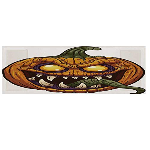 (Halloween Microwave Oven Cover with 2 Storage Bag,Scary Pumpkin Monster Evil Character with Fangs Aggressive Cartoon Cover for Kitchen,36