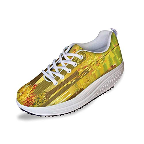 (Fall Stylish Shake Shoes,Dreamy Fantasy Enchanted Forest Illustration Deciduous Trees Bushes in The Countryside for Women,9)