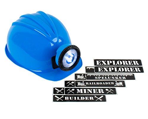 Light-up Hard Hat Including Miner, Railroader, Builder and Spelunker Helmet Labels (Blue)