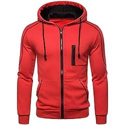 Hooded Sweatshirt,ONLT TOP Men Slim Fit Long Sleeve Lightweight Zip Up Hoodie Hooded Sweatshirts with Kanga Pocket