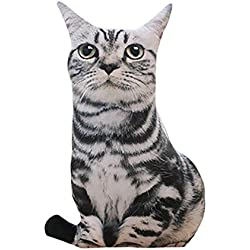 CUCUHAM 1 pc 50cm Stuffed 3D Simulation Cat Pillow 4 Styles Funny Gray Cat Toy Lovely
