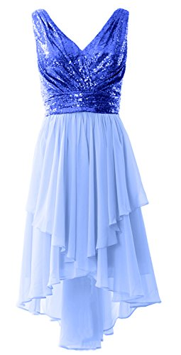 MACloth Women Straps V Neck Sequin Chiffon High Low Prom Dress Formal Party Gown Royal Blue-Sky Blue
