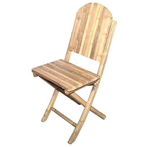 Bamboo Folding Chairs (Set of 2), 19 inches long x 17 inches wide x 36.5 inches high by Bamboo