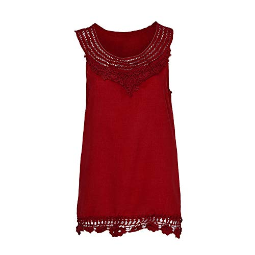 iYBUIA Women O-Neck Sleeveless Pure Color Lace Plus Size Vest Loose T-Shirt Blouse with Hollow Hem Red by iYBUIA (Image #3)