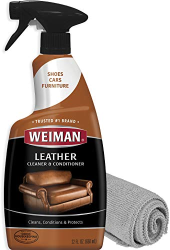 Weiman Leather Cleaner and Polish for Furniture and Car with Microfiber Cloth – Non Toxic Clean and Condition Car Seats, Shoes, Couches and More – 22 Fluid Ounces
