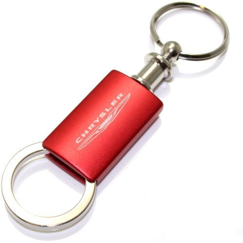 Chrysler Red Logo Metal Aluminum Valet Pull Apart Key Chain Ring Fob