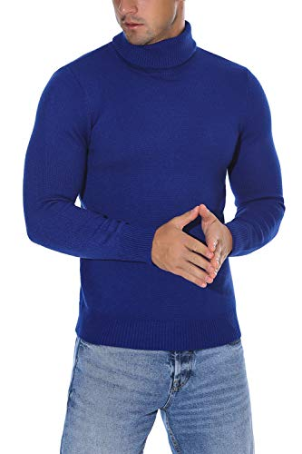 Classic Cashmere Turtleneck Sweater - Rocorose Men's Long Sleeves Essential Turtleneck Sweater Pullover Royal Blue L
