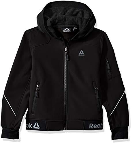 Reebok Boys' Big' Active Logo Hem Jacket, Black, 10/12